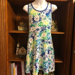 Justice blue and green floral dress size 14